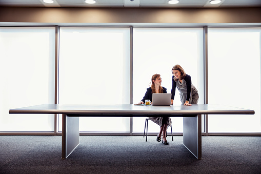 Two woman at a large table discussing business with a laptop in from of them. They look positive and confident. They are in a large room