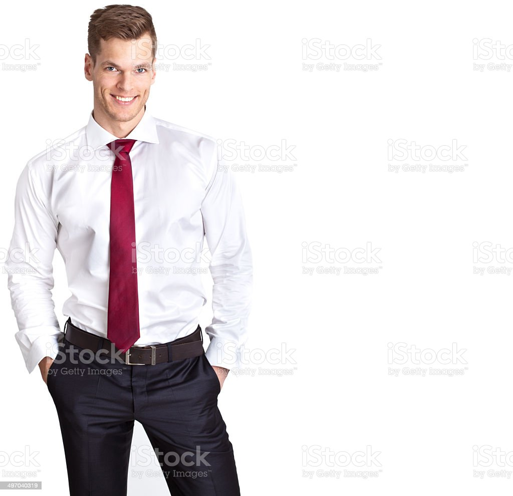 Successful and confident young businessman isolated on white background stock photo