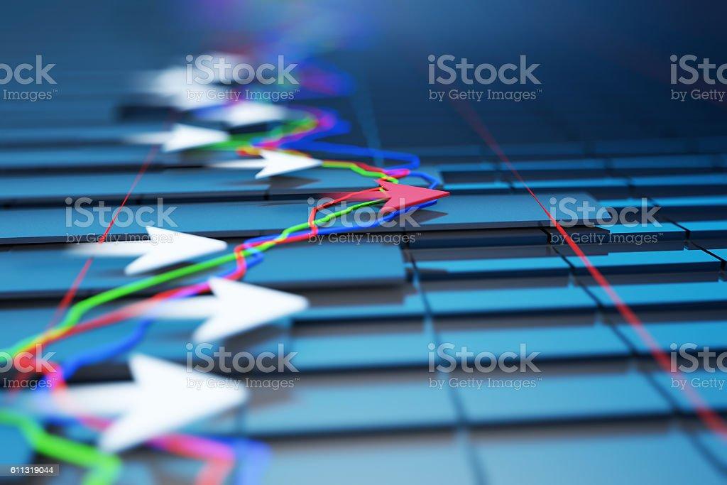Successful arrows with economic data, stock market data stock photo