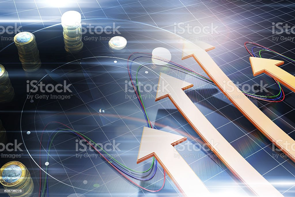 Successful arrows with time, wealth accumulation stock photo
