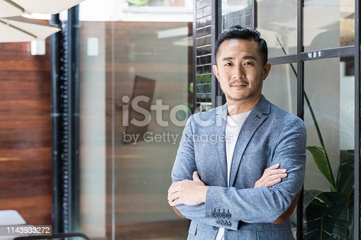 960195072 istock photo Successful Asian Businessman in a Modern Coworking Space 1143933272