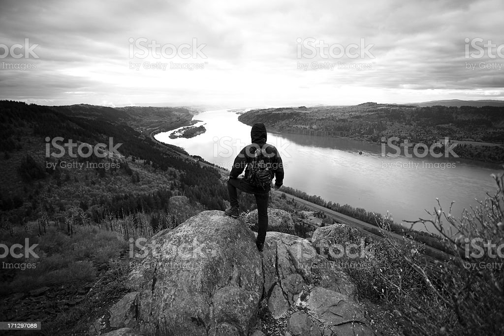 Successful backpacker standing over the Columbia River Gorge royalty-free stock photo