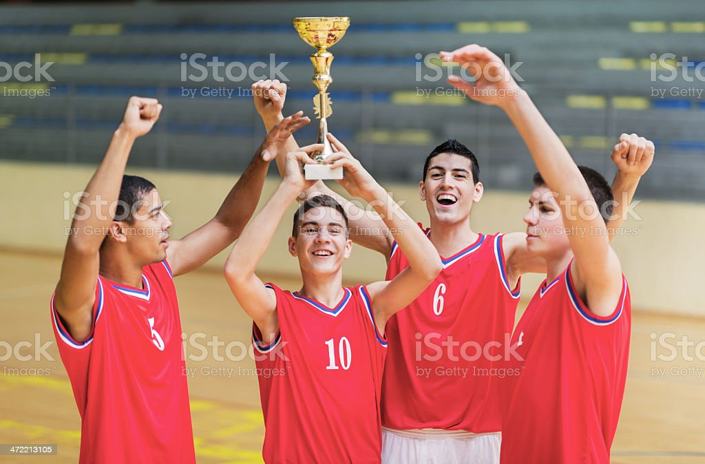 Successful basketball team. royalty-free stock photo