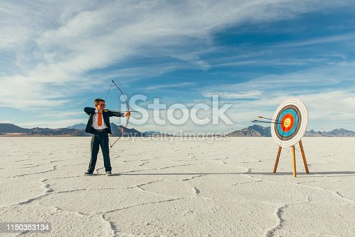 istock Successful Business Boy with Arrows in Target 1150353134