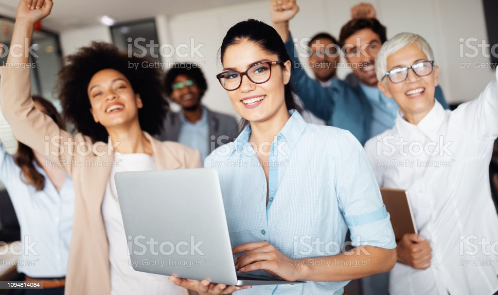 Successful business group of people at work in office stock photo