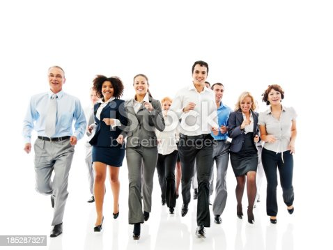 Large group of a happy business people running together.  Isolated on a white background.