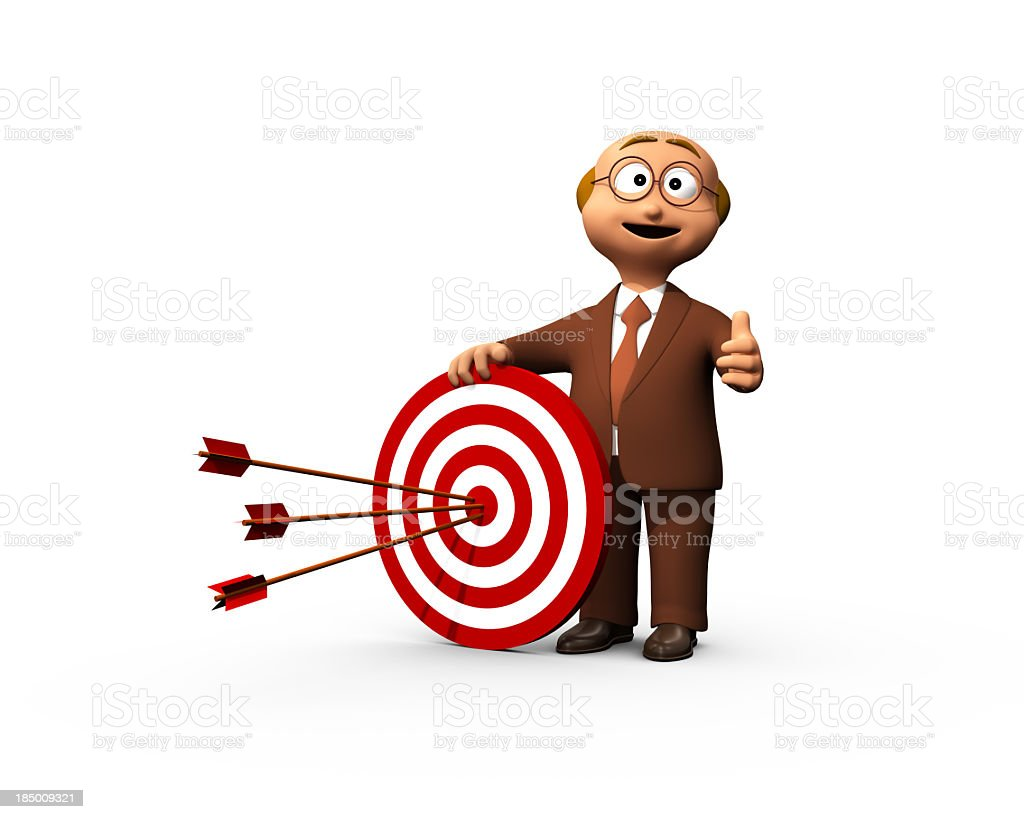 Successful Business Man And Bullseye royalty-free stock photo
