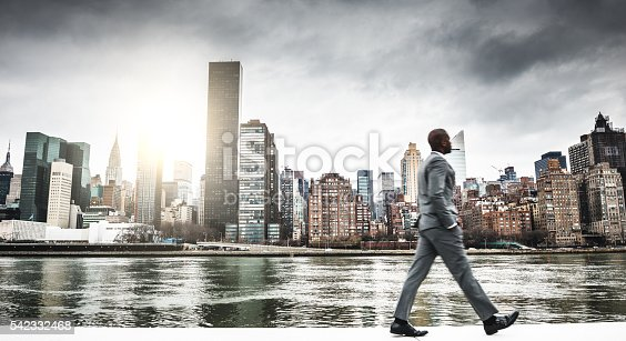 istock Successful business man looking away against the skyline 542332468