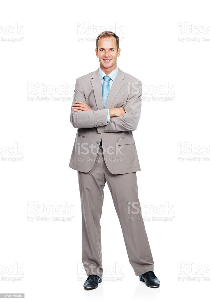 Successful business man with hands folded  stock photo