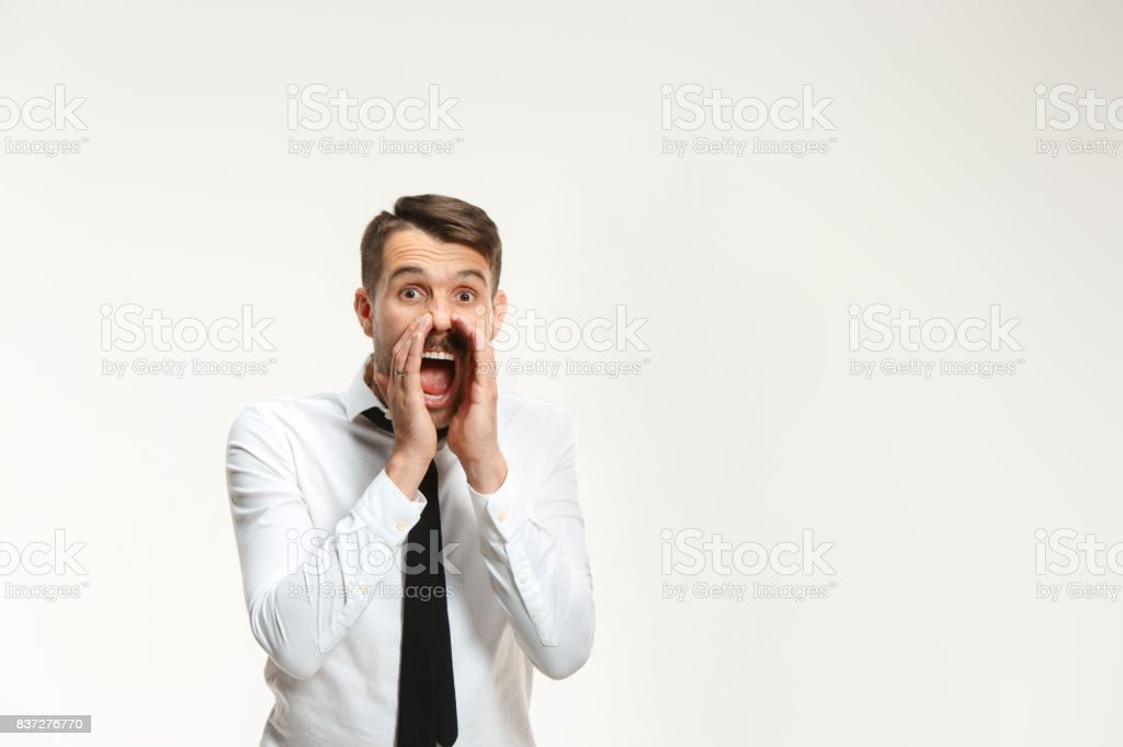 Successful business mane crying on white stock photo