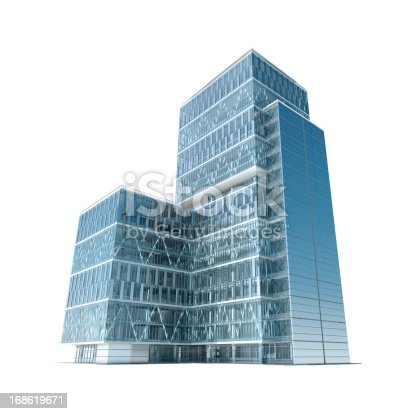 Towering and modern corporate office building, showing prosperity and success in business. Isolated on white with clipping path.
