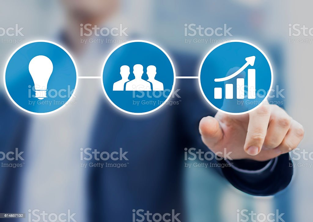 Successful business originates from innovative and good motivated team stock photo