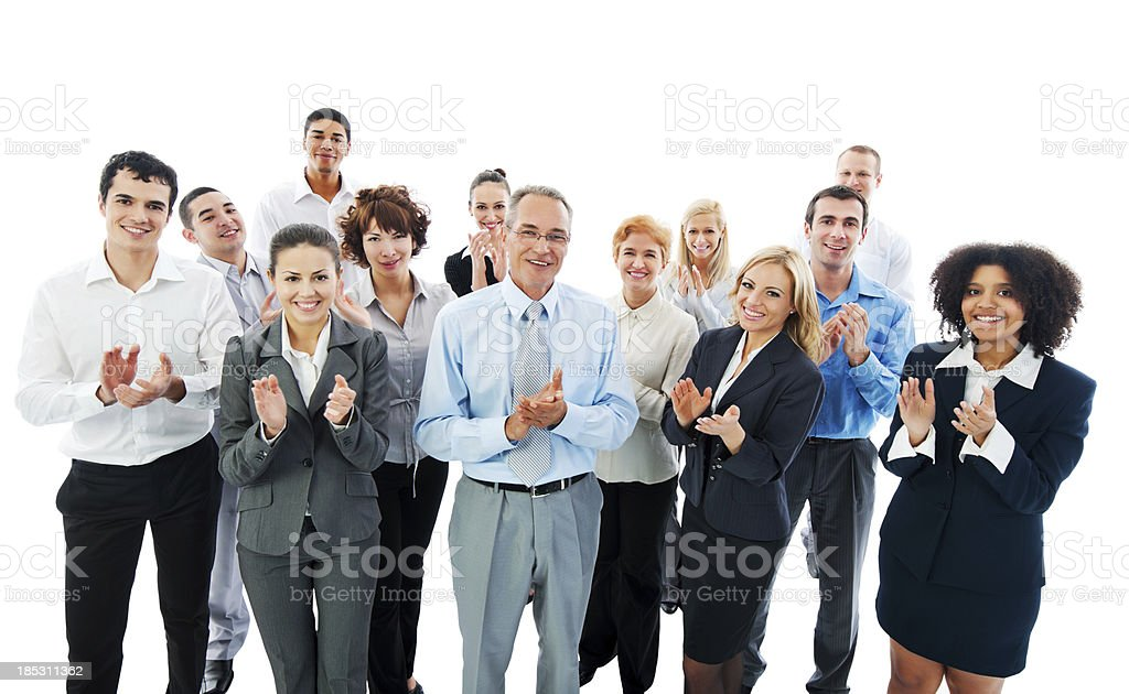 Successful Business People Applauding on a meeting. stock photo