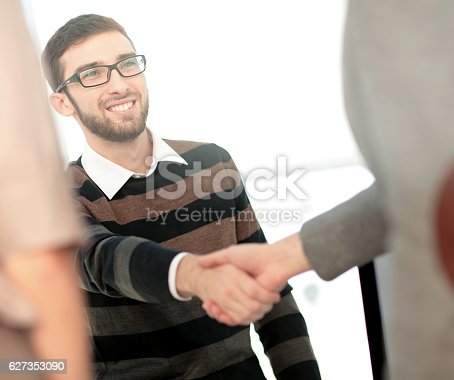 istock Successful Business People Shaking Hands With Each Other. Double 627353090