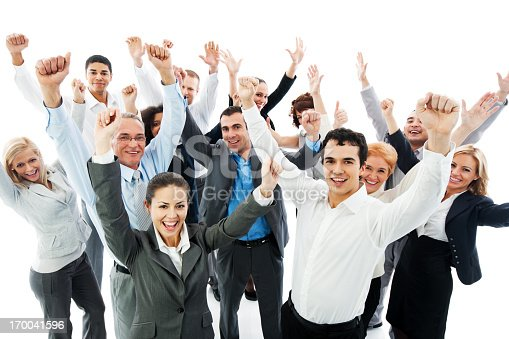 istock Successful Business People with raised hands. 170041596