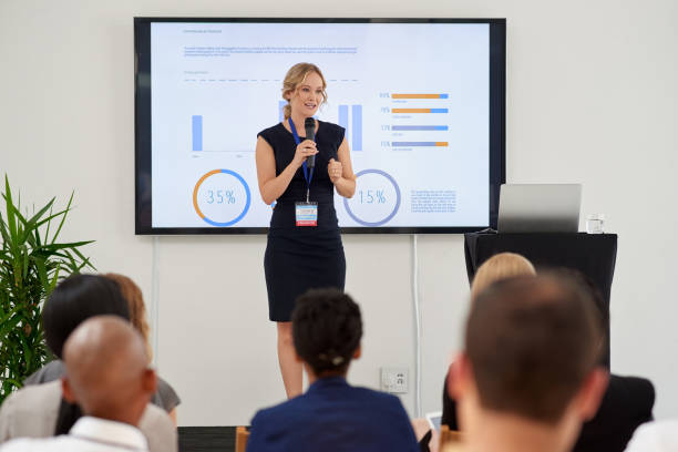 Successful business presentation, how the pro does it stock photo