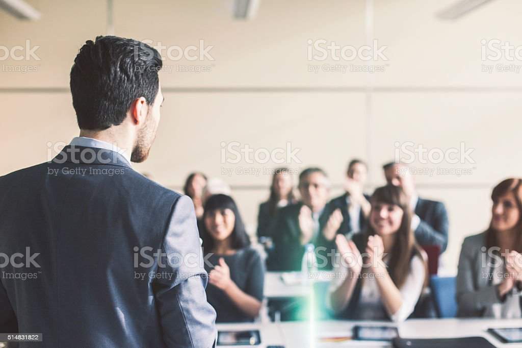 Successful business presentation stock photo