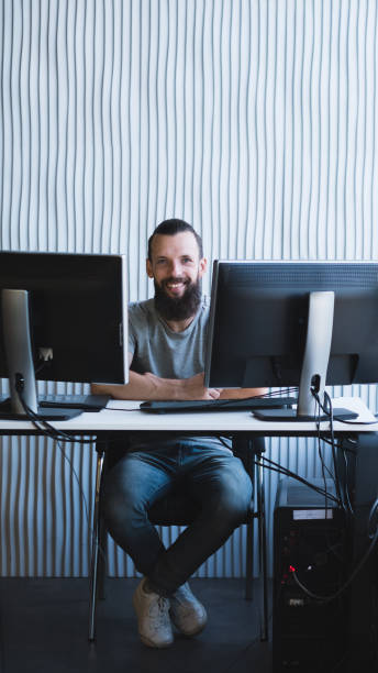 successful business project happy male engineer stock photo