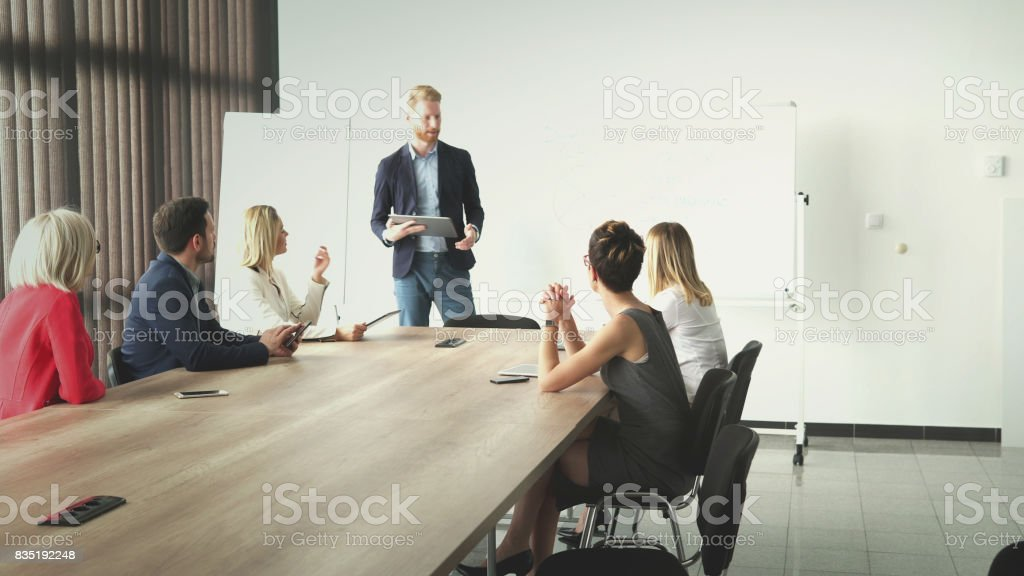 Successful business team have meeting stock photo