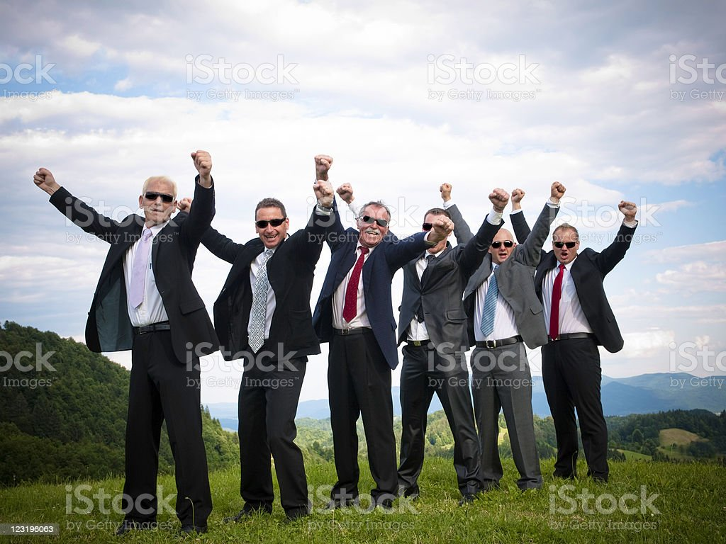 Successful Business Team Raising Fists royalty-free stock photo