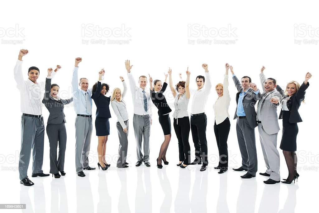 Successful business team with raised arms. royalty-free stock photo