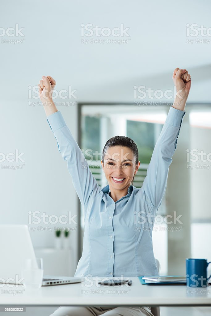 Successful business woman in her office stock photo