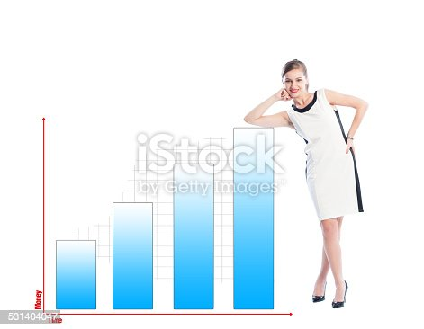 istock Successful business woman resting on a financial chart 531404047