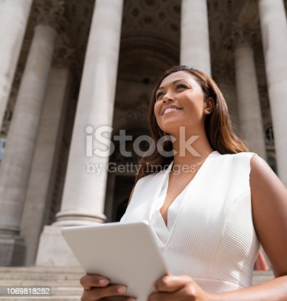 istock Successful business woman using a tablet computer outdoors 1069818252