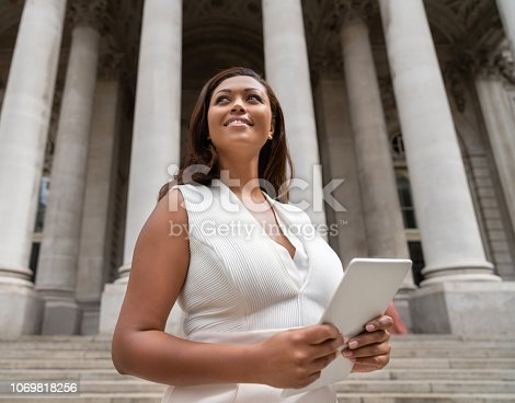 istock Successful business woman using a tablet computer outdoors 1069818256
