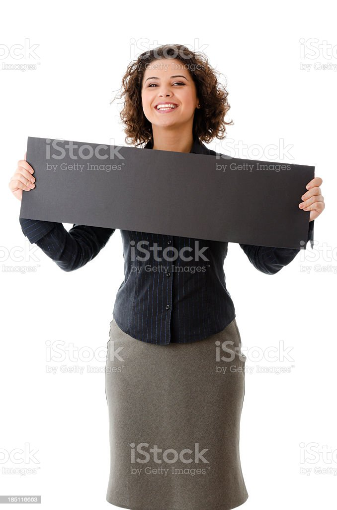 Successful business woman with empty board, isolated on white royalty-free stock photo
