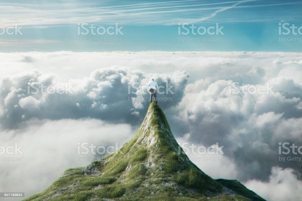 Successful businessman at the top stock photo