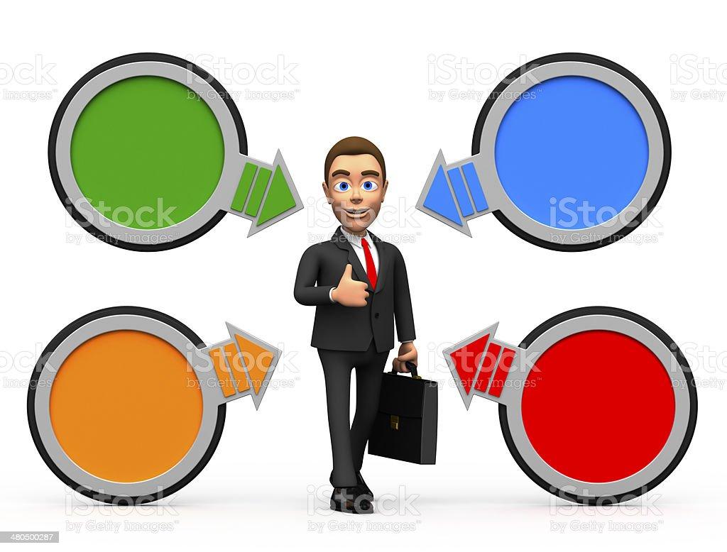 successful businessman circular pointers stock photo