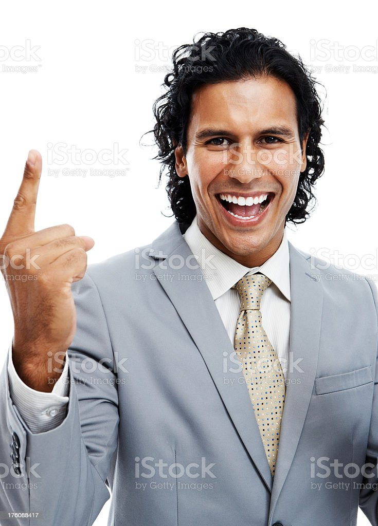 Successful businessman gesturing royalty-free stock photo