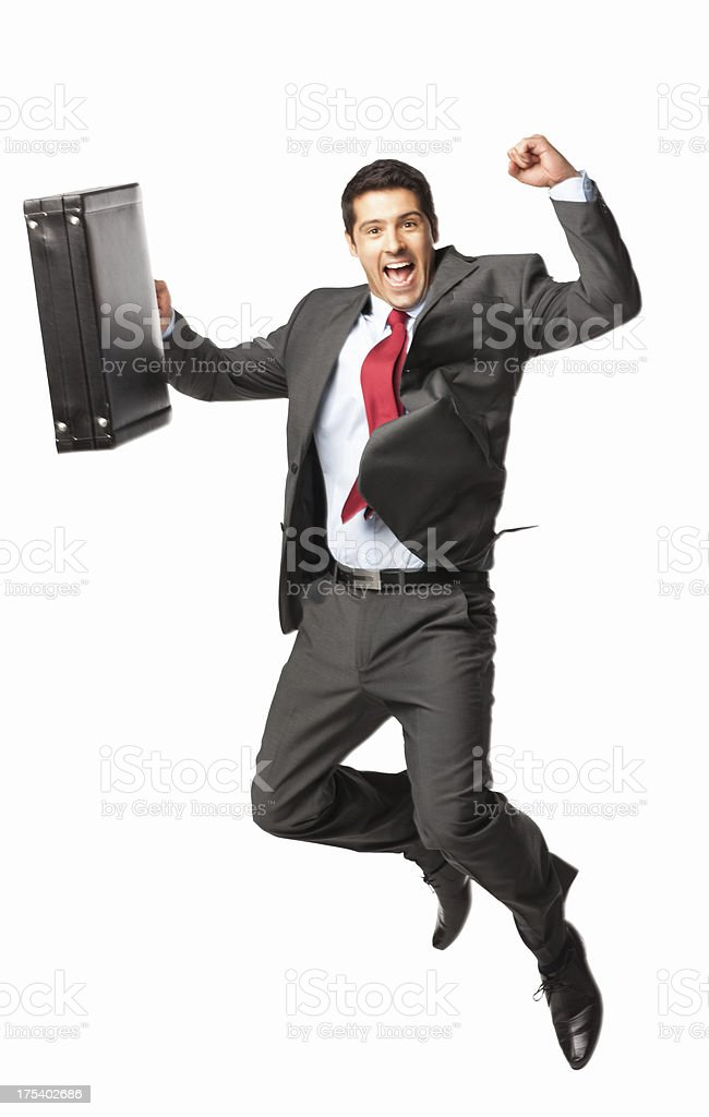 Successful Businessman Jumping - Isolated royalty-free stock photo