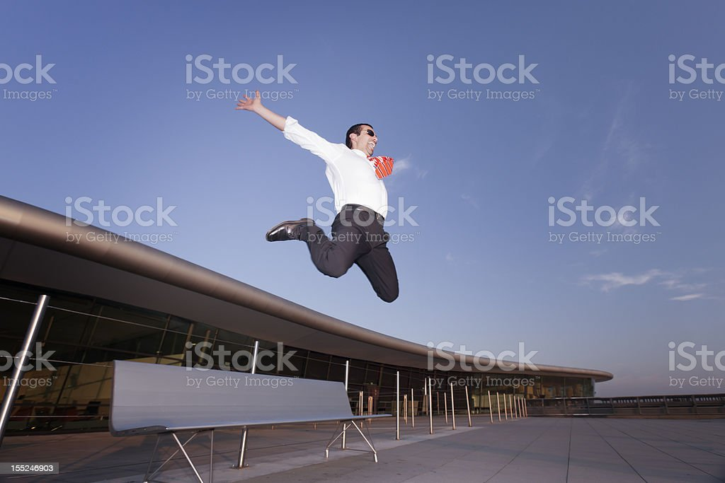 Successful businessman jumping. royalty-free stock photo