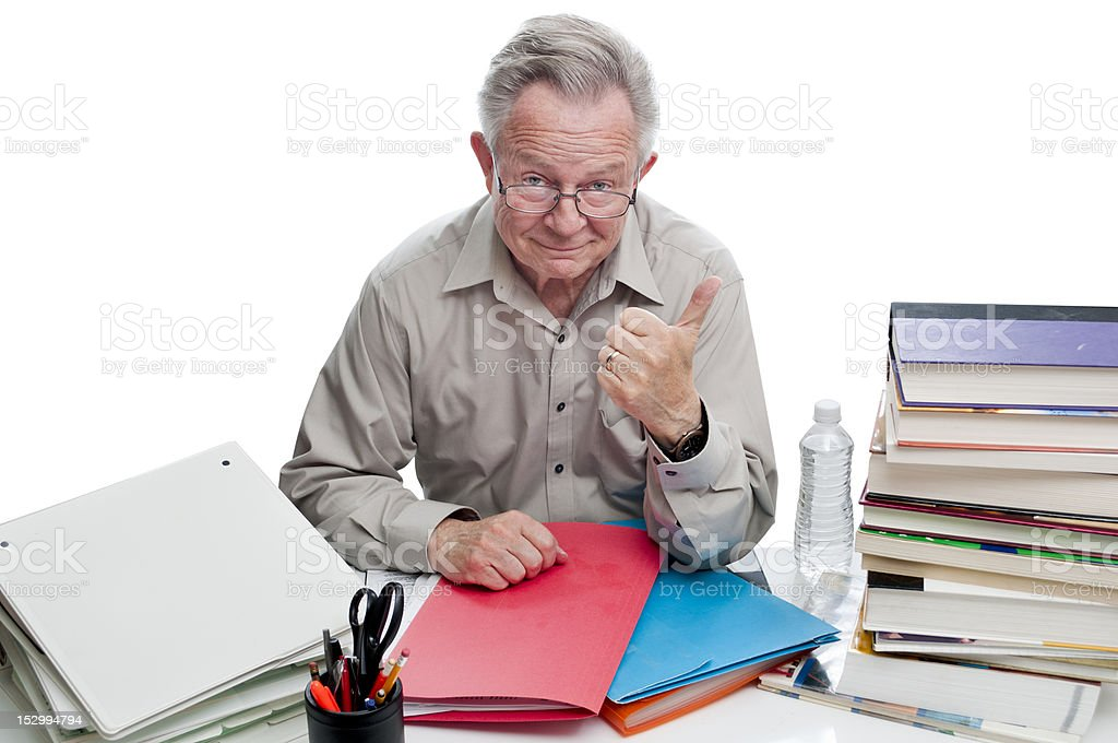 Successful Businessman Researcher Giving Thumbs Up Sign royalty-free stock photo