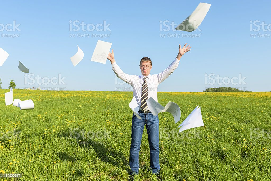successful businessman threw papers in the field stock photo