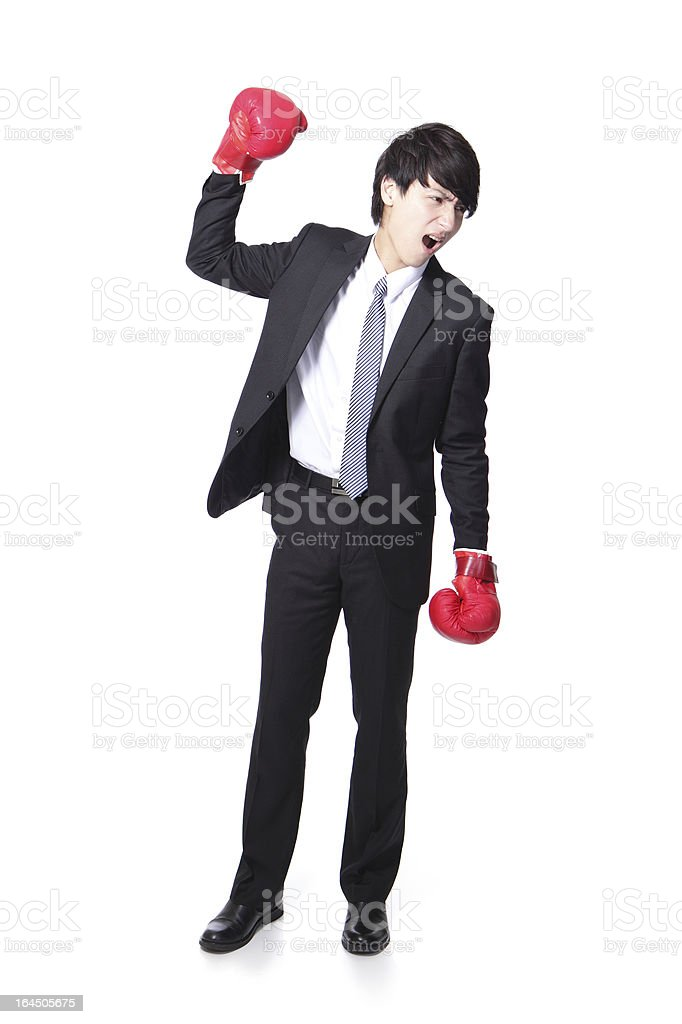 successful businessman with boxing gloves royalty-free stock photo