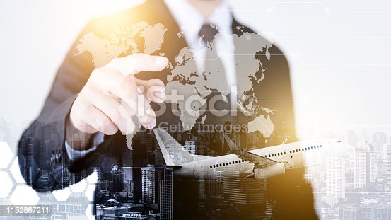 544976664 istock photo Successful businessmen in the air transport business, worldwide transportation, International transportation concept. 1152867211