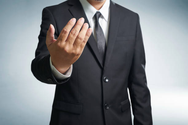 Successful businessmen  inviting to come hands style , stock photo