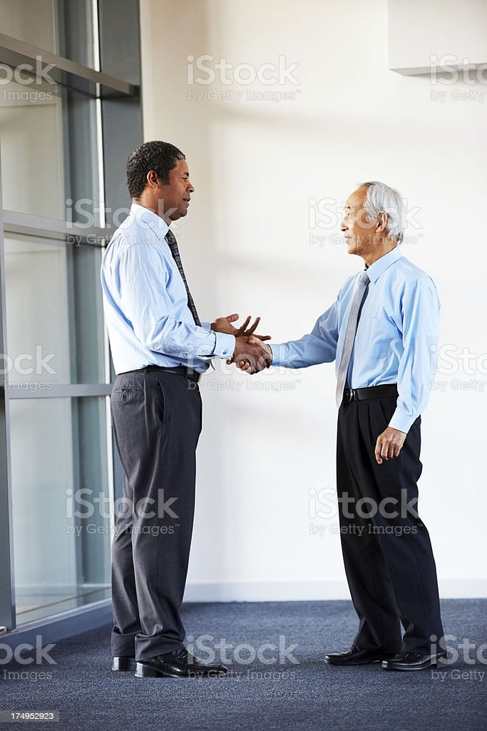 Successful businesspeople shaking hands on a deal royalty-free stock photo