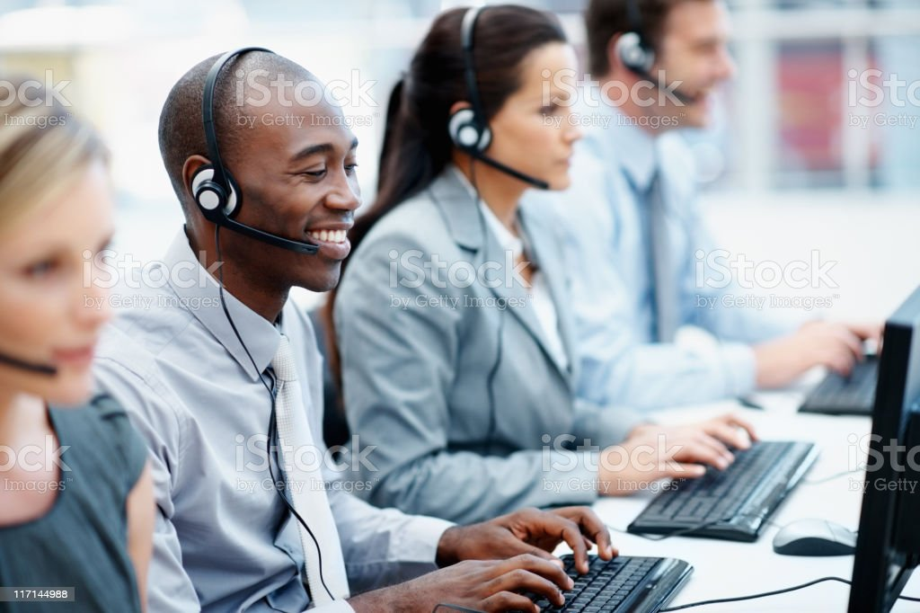 Successful call centre employers at work royalty-free stock photo
