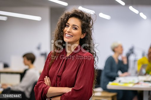 istock Successful casual business woman smiling 1244524447