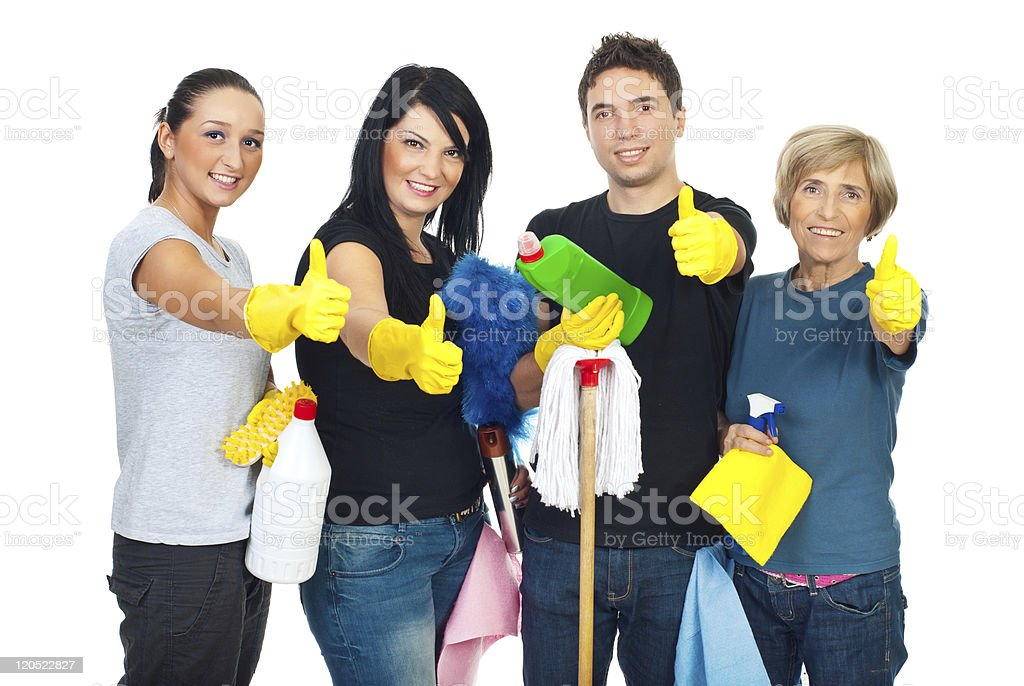 Successful cleaning people teamwork - Royalty-free Active Seniors Stock Photo