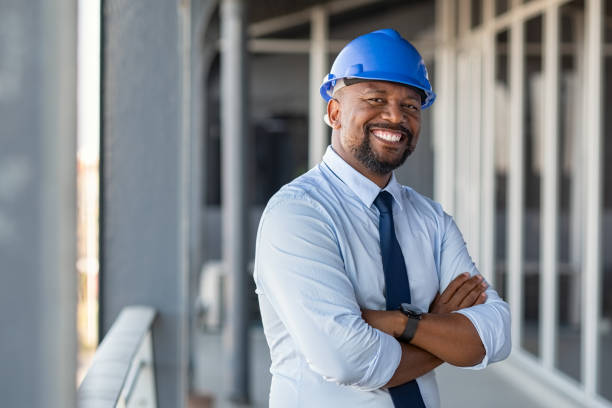 Successful contractor at building site stock photo