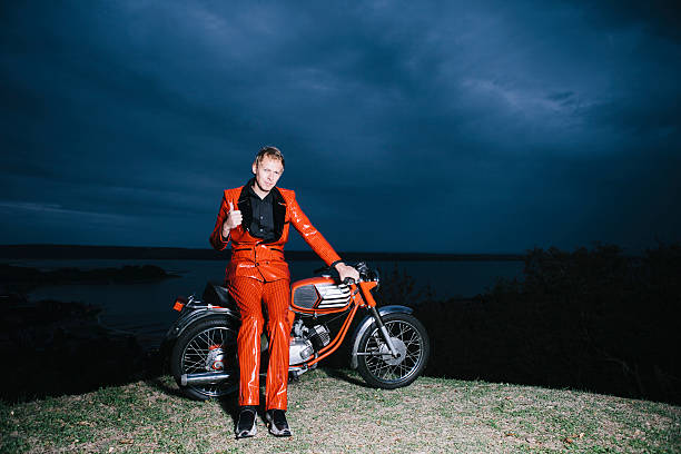 Successful Crazy Musician With His Motorcycle stock photo