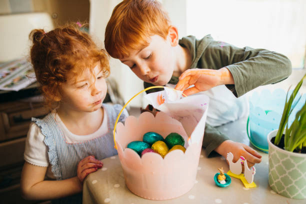 Successful Easter Egg Hunt stock photo