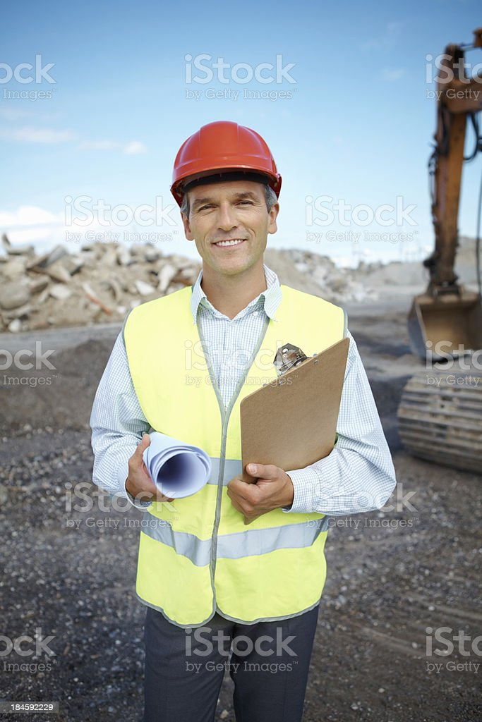 Successful engineer at construction site royalty-free stock photo