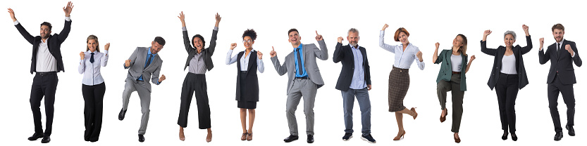 Successful excited business people group team, young businesspeople standing together smile hold fist ok yes gesture with raised hands arms, studio isolated over white background