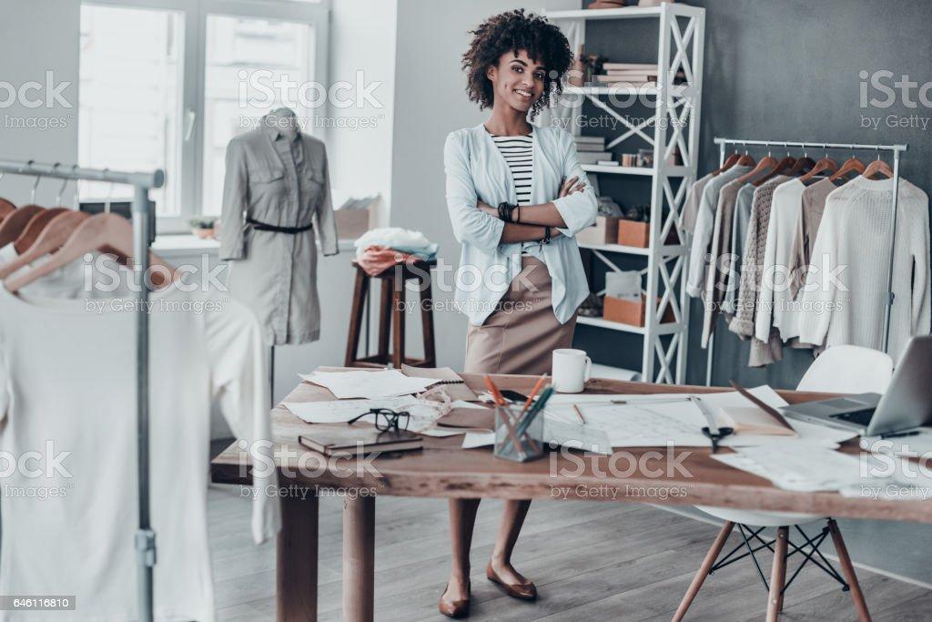 Successful fashion designer. stock photo